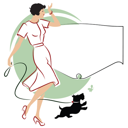 promenade: Vector stock illustration. Girl with a dog for a walk.