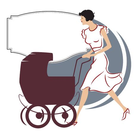 promenade: Vector stock illustration. Girl with a stroller for a walk Illustration