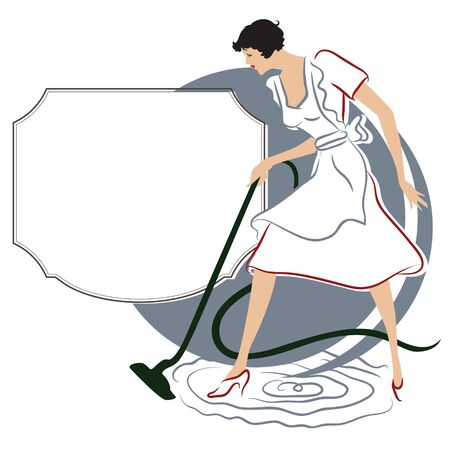 household chores: Vector stock illustration. she cleaned the apartment.