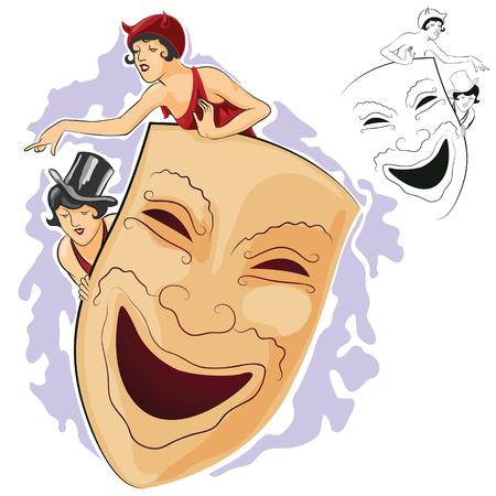 carnival girl: Vector stock illustration. Girl look out the large carnival masks.