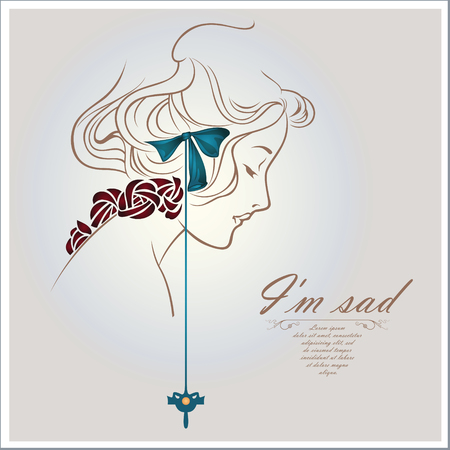 Vector concept-art - Sad girl face sketch Vector