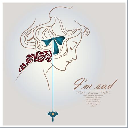sad lonely girl: Vector concept-art - Sad girl face sketch