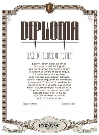 diploma: Vector template for the design of diploma, advertisements, invitations or greeting cards