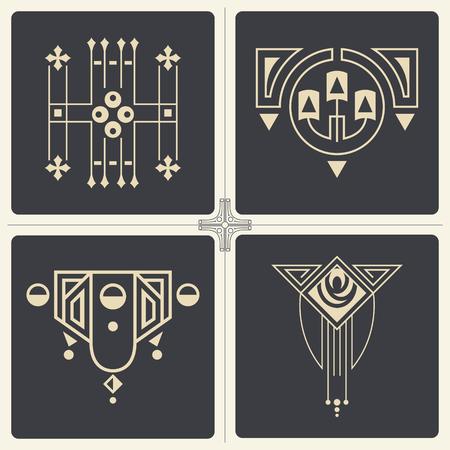 stile liberty: Vettore stock illustrazione. Astratti ornamenti per il design di prodotti stampati e web.