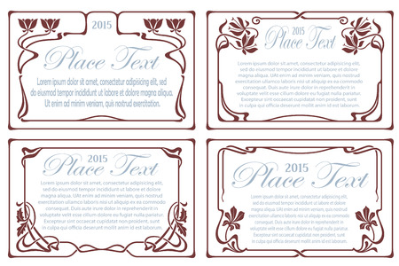 Vector abstract decorative label from bound plants and flowers