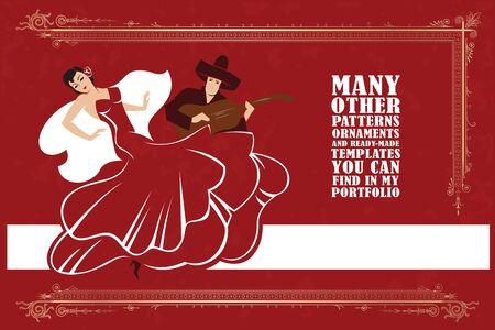 bailando flamenco: Vector de la ilustraci�n. Mujer bailando flamenco