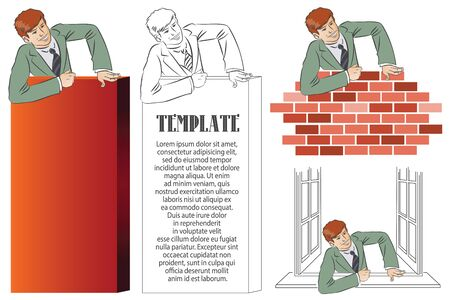 obstacle: Vector stock infographics.Businessman climbs over obstacle