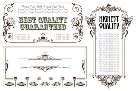 schoolbook: Vector vintage style labels and tags on different versions for decoration and design Illustration