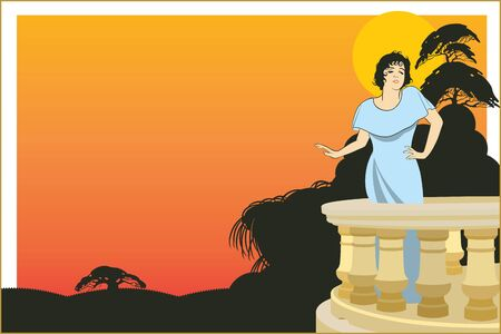 veranda: Vector background. Woman on the veranda of the hotel on an exotic background sunset.