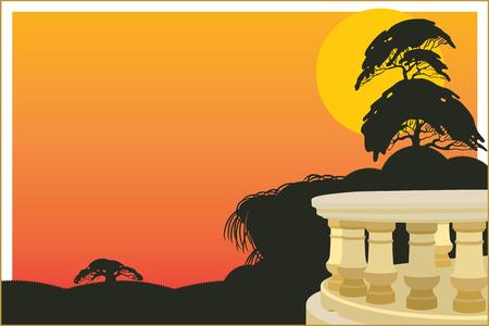 veranda: Vector background. Veranda of the hotel on an exotic background sunset. Illustration