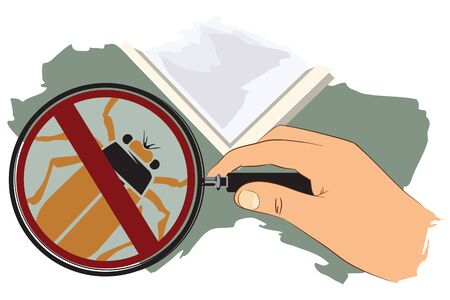 forensic science: Vector stock illustration. Hand with magnifying glass. No insects. Illustration