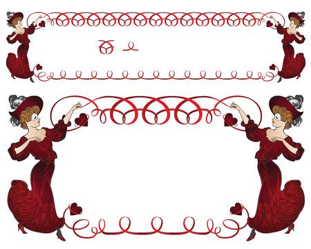 carnival costume: Vector stock illustration. Girl in carnival costume with a ribbon border. Illustration