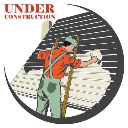 the house painter: clipart vectorial. pintor pinta la pared de la casa
