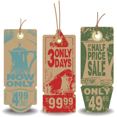 Vector set: Beverage tags with a message about the sale