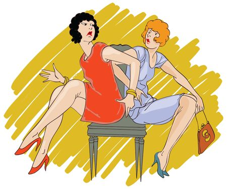 sew tags: Vector illustration. Hand drawn sketch - Two girls arguing over a chair Illustration