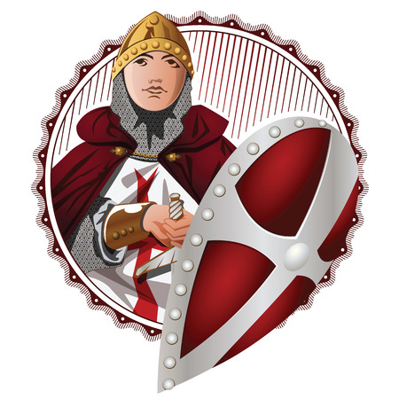 panoply: Vector stock illustration. Medieval Knight Wearing Armor Holding a Shield and Sword. Illustration