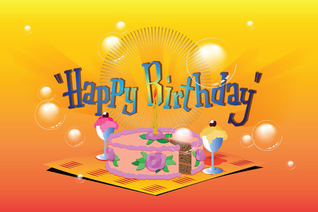 birthday background: Vector stock illustration. Template birthday greetings. Cake, ice cream and a candle.