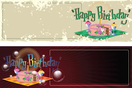 felicitaciones cumpleaÑos: Ilustración. Saludos de cumpleaños plantilla. Pastel, helado y una vela. Vectores