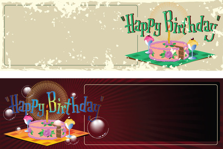 birthday greetings: stock illustration. Template birthday greetings. Cake, ice cream and a candle.