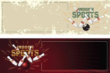 bolos: Ilustraci�n. Tarjetas postales promocionales plantilla. Deportes de interior. Bolos.