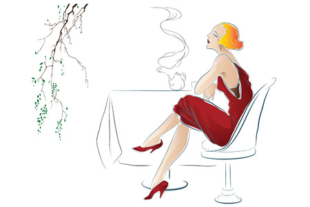 cafe table: Vector illustration - Girl drinks tea at a cafe table. Illustration