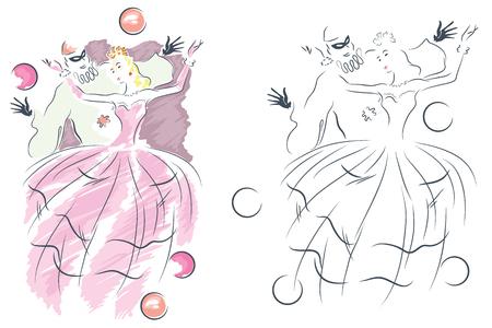 illustrazione uomo: Illustrazione vettoriale. L'uomo e la donna al travestimento. Vettoriali