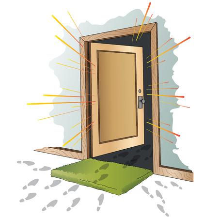 star background: Vector illustration. Open the door.
