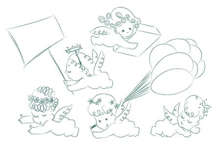 cupido: Vector set. Sketch of cupids and angels. Illustration