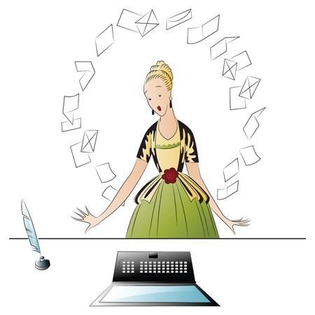 hanging woman: Vector stock illustration. beautiful girl and computer.