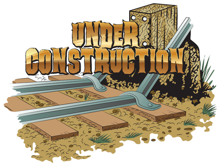 blockage: vector clipart. Under construction. Railroad tracks blockage. Illustration