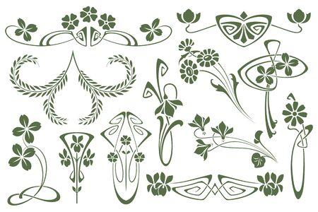 Vector set flower vignette  on different versions for decoration and design Illustration