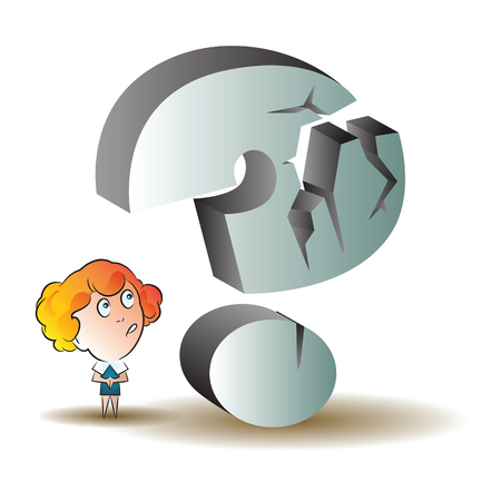 sure: Vector stock illustration. Funny woman under a giant question mark.