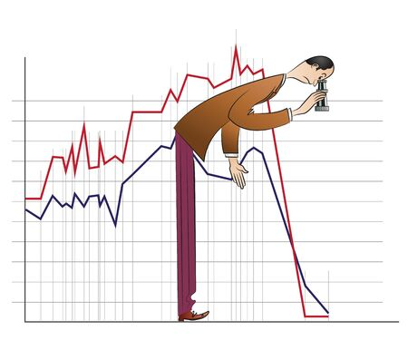 considers: Vector stock infographics. Businessman considers binoculars fallen schedule.
