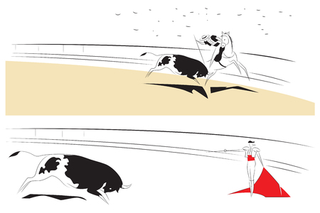 Vector illustration - Abstract paintings on the theme of bullfighting.