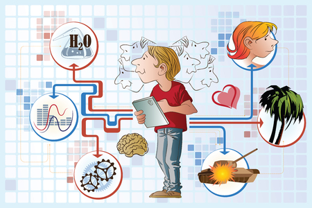 think tank: Vector stock illustration. Man with a tablet makes a choice between the heart and the brain.