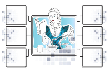 preparing: Vector stock illustration. Girl is preparing. Template for infographics with dies for ingredients. Illustration
