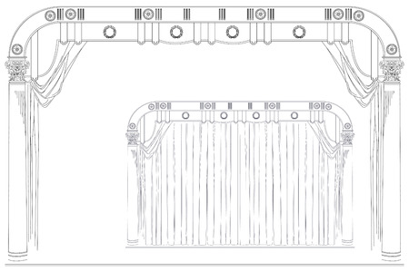 sipario chiuso: Vector stock illustration. Drawing by hand. Open and closed the curtain theater stage. Vettoriali