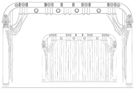 sipario chiuso: Vettore stock illustrazione. Disegno a mano. Aperto e chiuso la fase del teatro tenda. Vettoriali