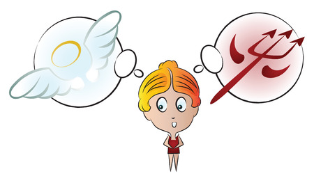 good and evil: Vector stock illustration. Funny girl with different emotions. The choice between good and evil.