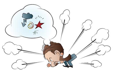 Vector stock illustratie. Angry grappige man. De bel voor tekst. Vector Illustratie