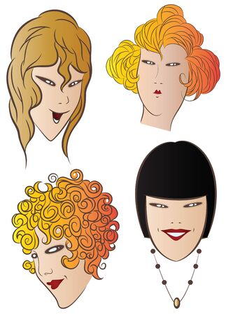 freckles: Vector stock illustration. The charming faces of the girls.