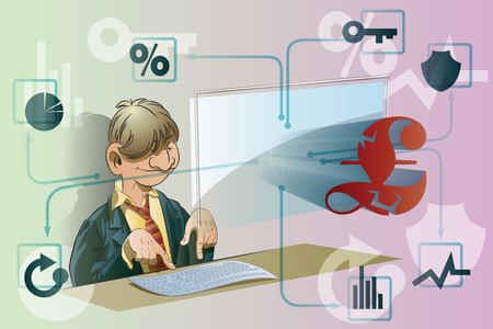solidity: Vector stock illustration. Funny businessman working at a computer. Finance and Currency