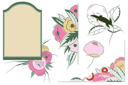 art product: Vector set flower vignette  on different versions for decoration and design Illustration