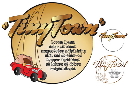 tiny: Sticker for your message. Toys in tiny Town. Car. Illustration