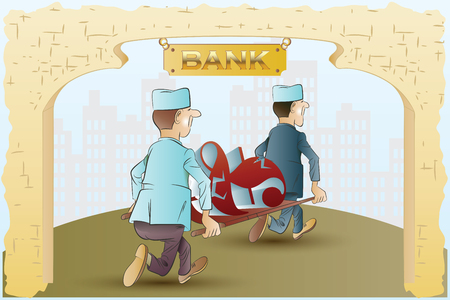 solidity: Vector stock illustration. Funny nurses take away from the bank on a stretcher currency symbol. Illustration