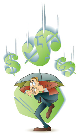 solidity: Vector stock illustration. Funny frightened man hiding under an umbrella from a falling currency. Illustration