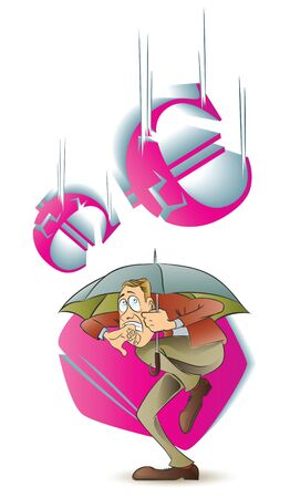 cash flows: Vector stock illustration. Funny frightened man hiding under an umbrella from a falling currency. Illustration
