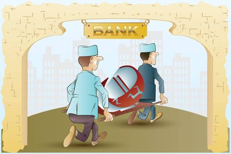 cash flows: Vector stock illustration. Funny nurses take away from the bank on a stretcher currency symbol. Illustration