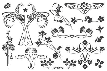 Vector set flower vignette  on different versions for decoration and design  イラスト・ベクター素材
