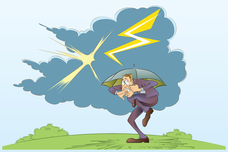 unfortunate: Vector stock illustration. Funny frightened man hiding under an umbrella from the thunderstorm. Illustration